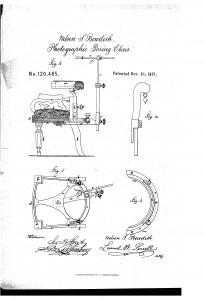 Afb. 1 Tekening bij patentaanvraag van Bowdish' Photographic Posing Chair
